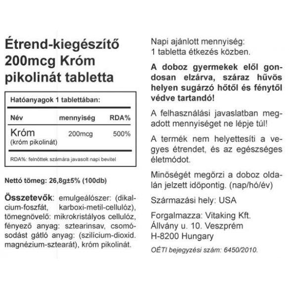 Króm pikolinát 200mcg (100) tabletta Vitaking