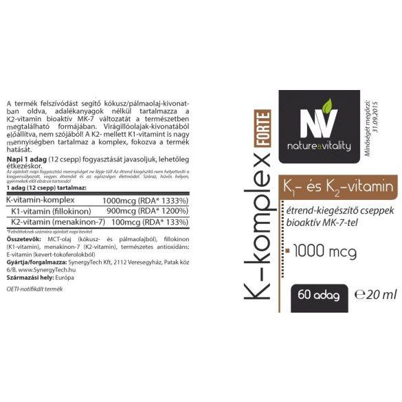 K-komplex Forte 1000mcg 20ml Nature&Vitality