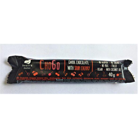 Cherry Cream töltött étcsokoládé 40g ChoGo