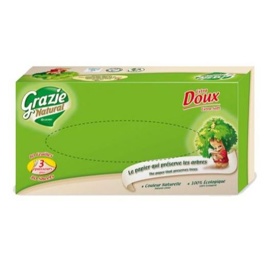 Öko papírzsebkendő dobozos 80 lap Grazie Natural