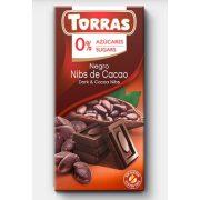 Étcsokoládé kakaóbabtörettel 75g TORRAS
