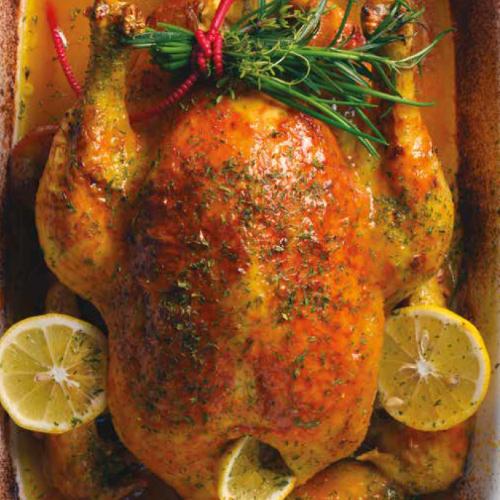 illatos füvekkel sütött citromos csirke vegyes zöldségchips- szel