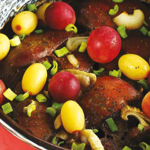 kacsamáj szőlővel, őszi spenótsalátával