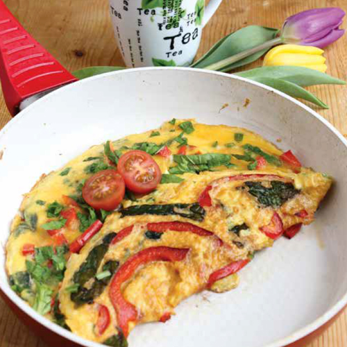 spenótos omlett kaliforniai paprikával