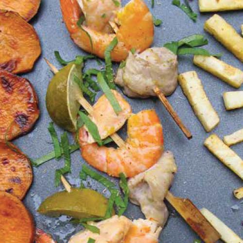vegyes halnyárs pirított zöldségekkel