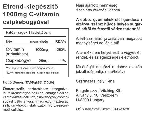 C-1000 Csipkebogyóval (30) tabletta VK