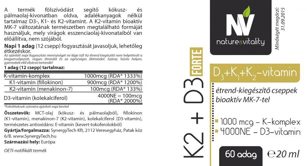 K2 + D3 Forte 20ml (60 adag) N&Vitality