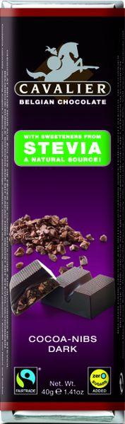 Étcsokoládé kakaó darabokkal 40g Cavalier