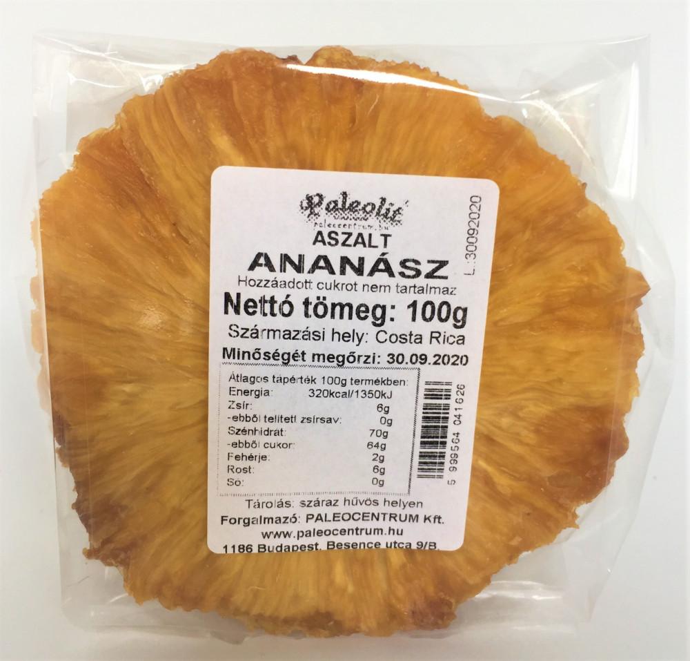 Aszalt ananász cukormentes 100g Paleolit